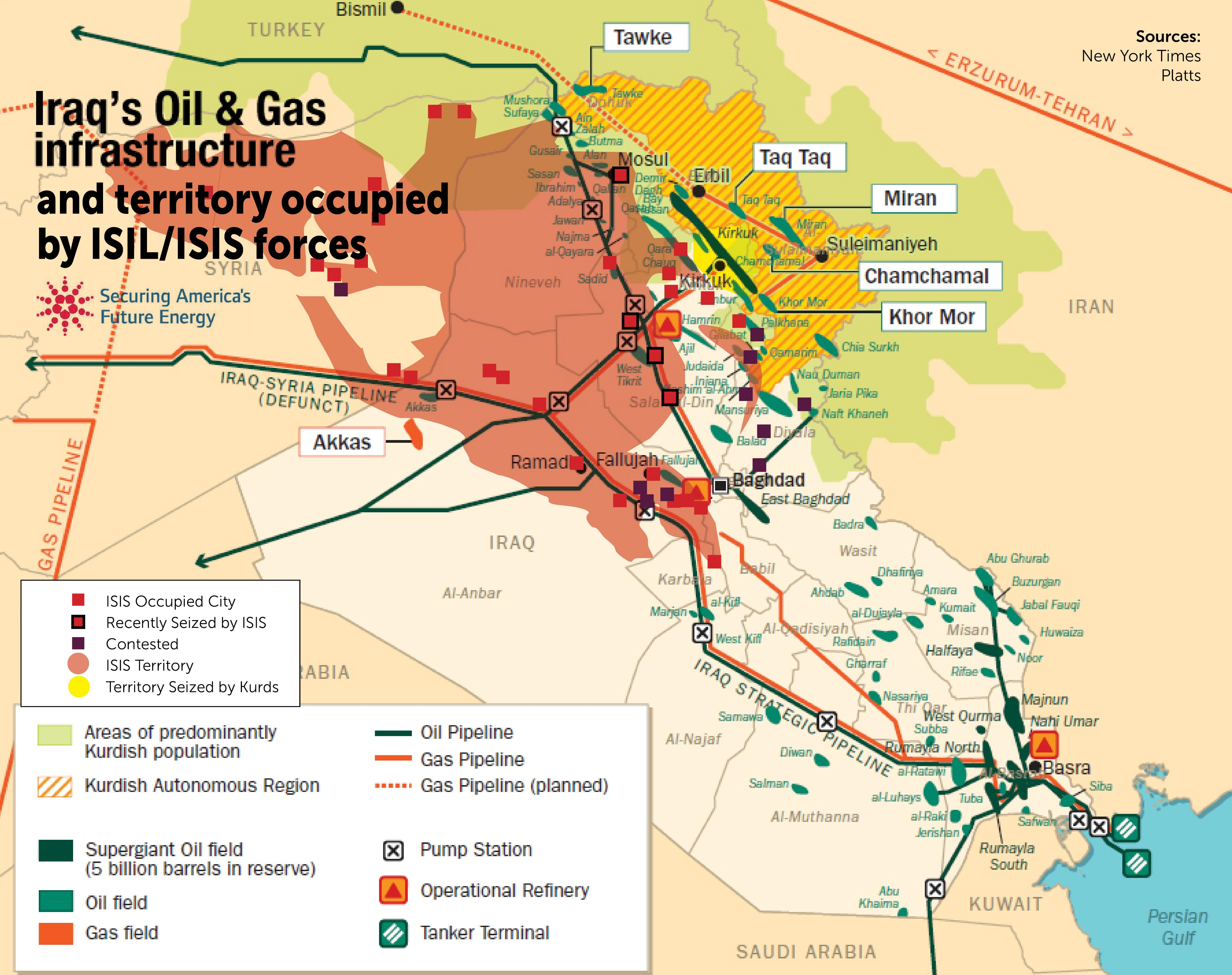 Map of Iraqs OilGas infrastructure and territory occupied by – Map of Iraqi Oil Fields